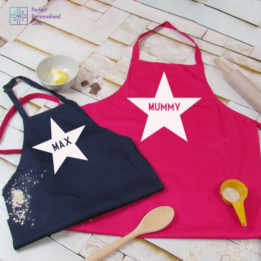 Personalised Parent & Child Apron Set.  Is your little one getting into the baking spirit? Can't keep them away from the flower or wooden spoon? This Parent & Child Apron Set is the perfect gift for any messy duo.  If baking, cooking or getting crafty is your type of thing then this apron set it perfect for you and your mini me.