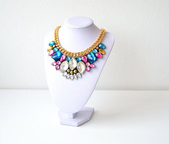Silver Rhinestone Gem Crystal Statement Necklace by GemsOver