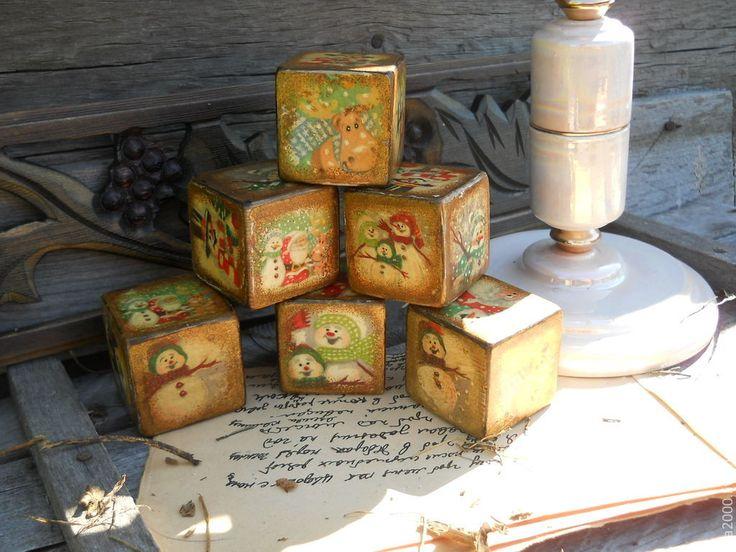 """Купить Кубики """"Новогодние"""" - кубики, деревянные кубики, детские кубики, новогодний, винтажный стиль"""