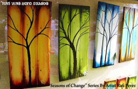 Large 4 Piece  Four Seasons  Tree Paintings on by Rafiwashere, $250.00