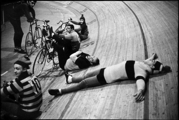photos by Henri Cartier-Bresson : France. Paris. 1957. Vélodrome d'Hiver. Six-day races.