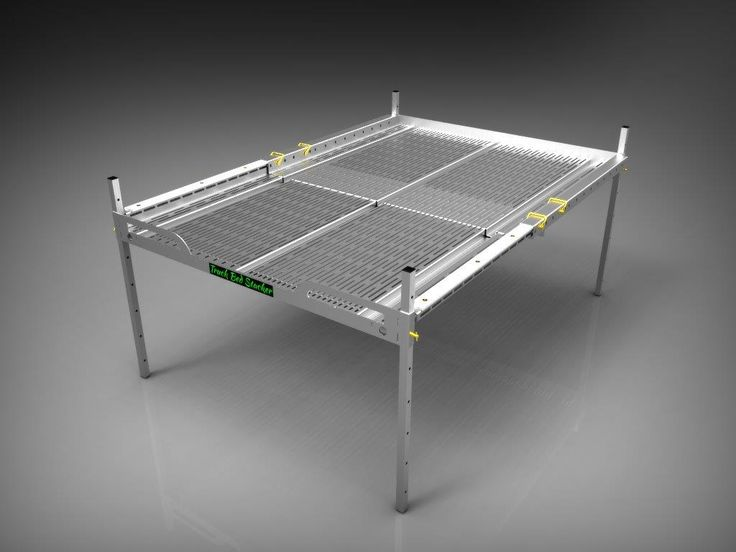 Truck Bed Stacker. A great truck bed organizer for Hunting, Fishing, Camping or work truck. Adjustable height and Length. All aluminum and light weight. Use as a table or sleep on it when camping.