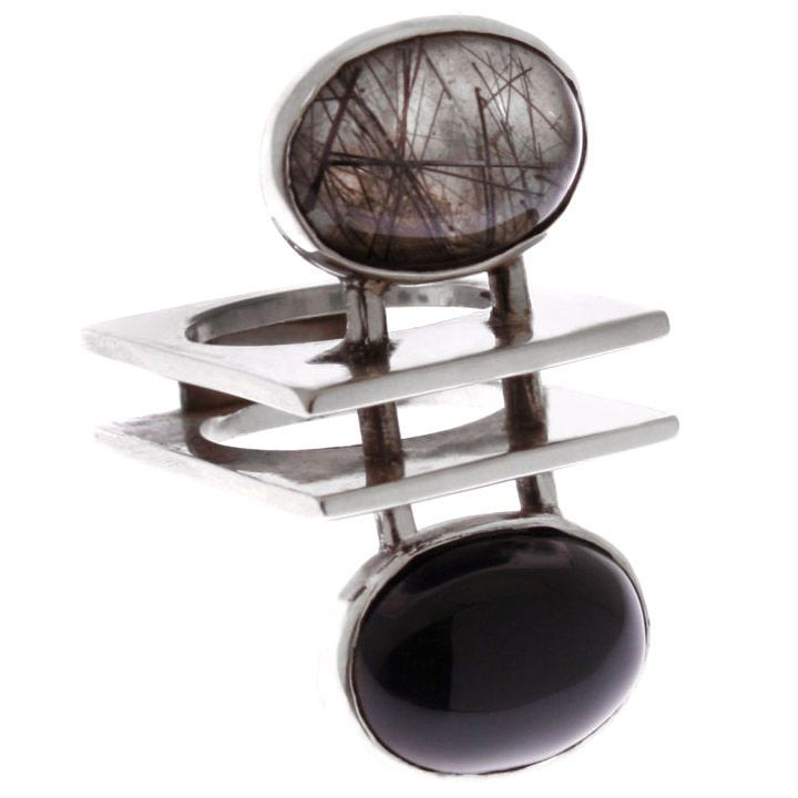 Ring | Artist ? (probably Scandinavian). Sterling silver and Rutilated Quartz.  ca. 1960s.