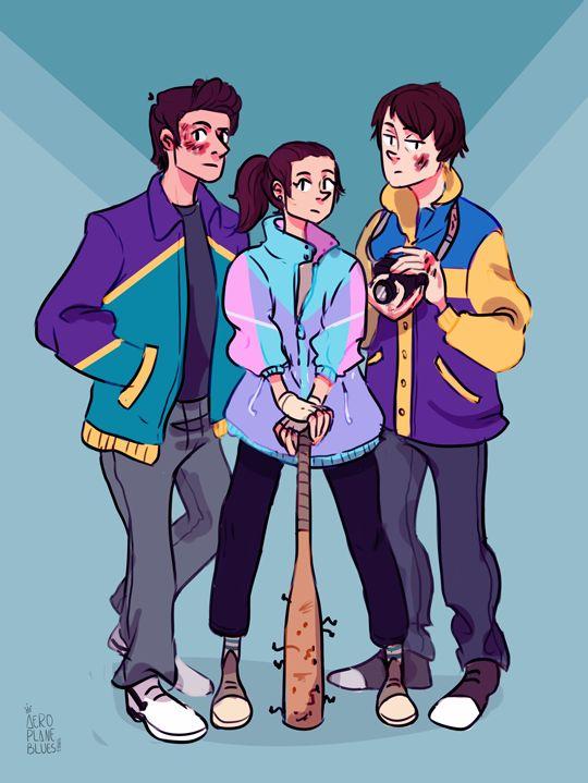 """""""Stranger Teens"""" - Steve Harrington, Nancy Wheeler, and Jonathan Byers from Stranger Things wearing windbreakers"""