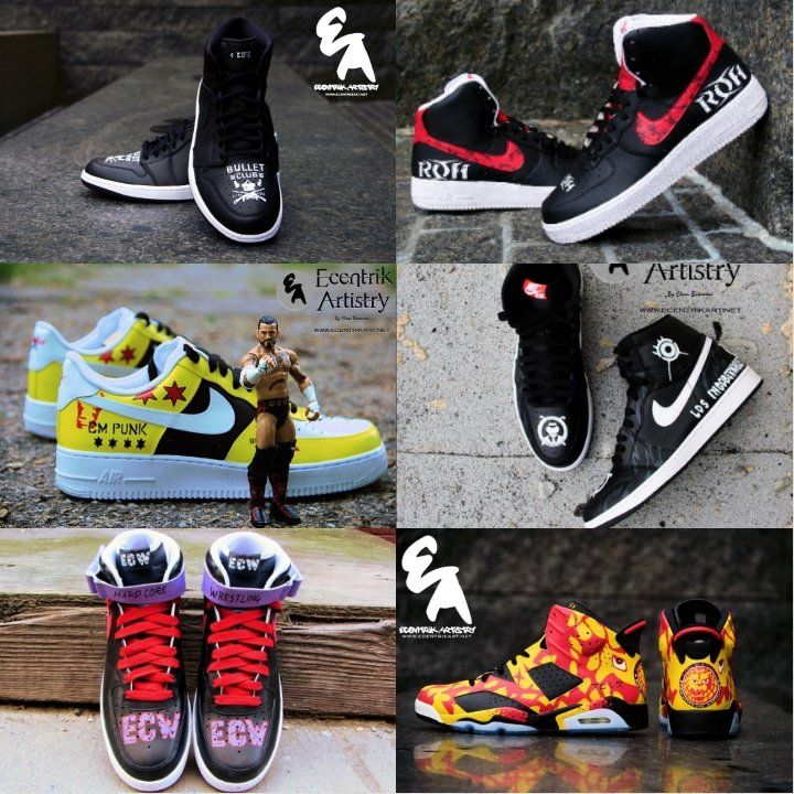 Professional Wrestling themed custom shoes (prices vary - see description to order) / Ecentrik Artistry