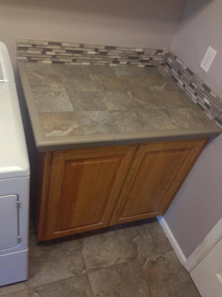 Laundry Room Tile Floor Counter And Backsplash Installed By Colortile Carpet In Salem