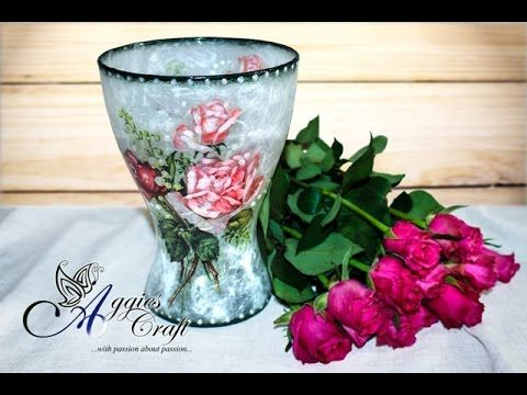 DECOUPAGE TUTORIAL - DIY Glass flower vase decoration - glass vase decoupage - YouTube