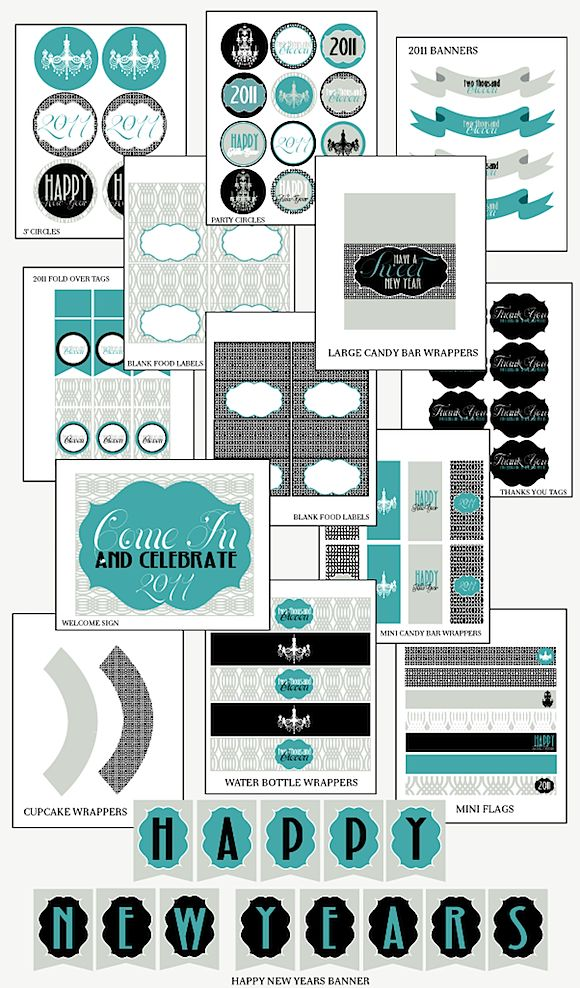new years eve printables (you could use the cute stuff that doesn't have 2011 on it.) VERY SASSY!