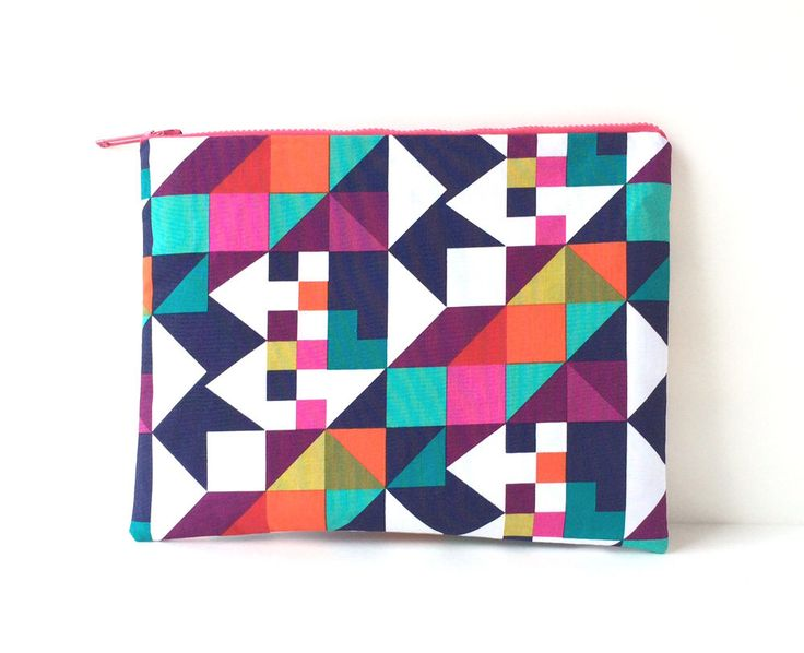 Geometric clutch bag, handmade purse, large clutch, bold handbag, spring gift ideas, mother's day gift, handbags Canada by CarrieJoanStudio on Etsy https://www.etsy.com/listing/229933672/geometric-clutch-bag-handmade-purse