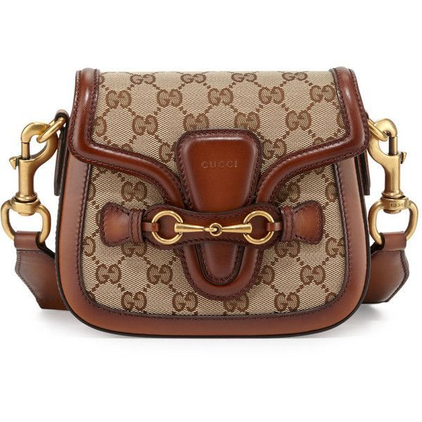 Gucci Lady Web Small GG Canvas Shoulder Bag (10.480 VEF) ❤ liked on Polyvore featuring bags, handbags, shoulder bags, brown handbags, pocket purse, brown purse, gucci and horsebit purse