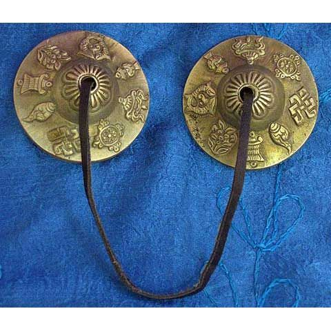 Nepalese Brass Cymbals. These cymbals are made from solid brass and are meant to bring good luck and a long happy life! The artwork is done by Buddist artists from a monastery. They make a wonderful sound and are great for clearing blocked energies.