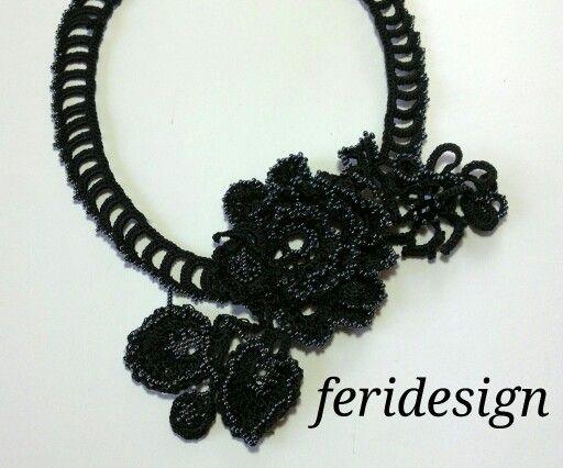 Crochet black necklace