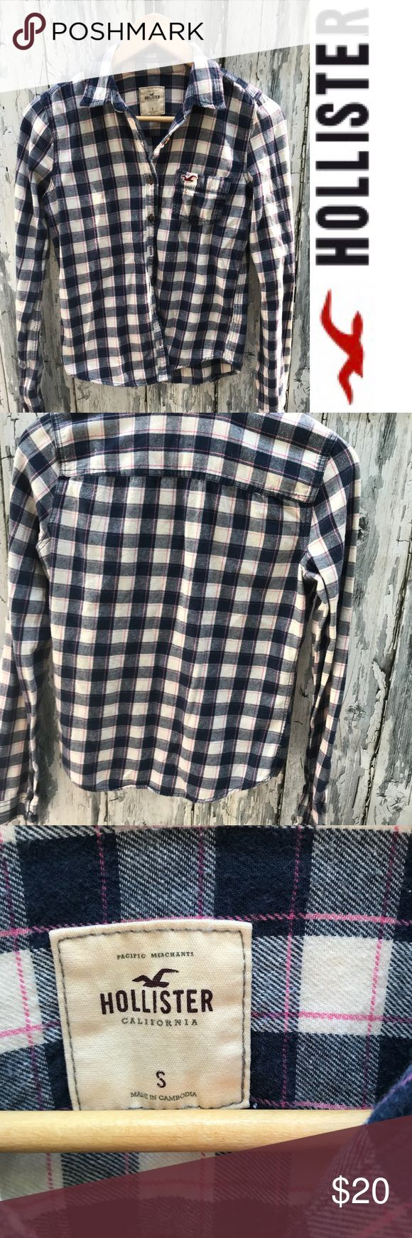 Hollister button down flannel Hollister button down flannel  Gently used  Good condition  No rips tears or stains  tags: fall fashion, winter shirts, grunge, 90's style, casual sweater, hollister, holiday sweater, mix and match, fall clothes, warm shirt, holiday, gifts Hollister Tops Button Down Shirts