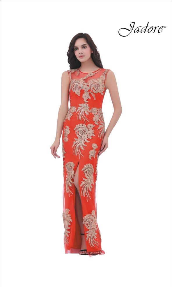 J11357 Chic sheath dress with high slit and contrasting gold lace appliques.  A stunning choice for Bridesmaid, Maid of Honor, Prom, Pageant, Red Carpet, Evening Gown, Mother of the Bride, Mother of the Groom.  Can be special ordered in sizes 2-26.