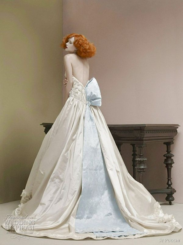 Something blue strapless ball gown. St. Pucchi.