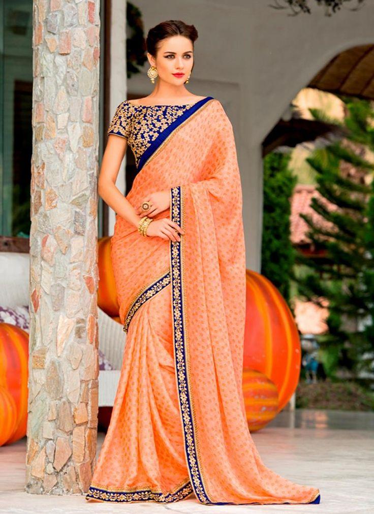 Imperial Chiffon Satin Patch Border Work Designer Saree