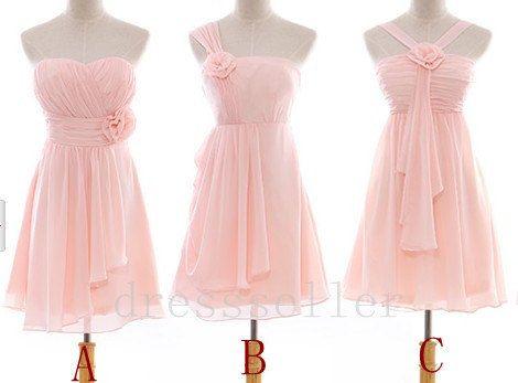 Short Light Pink Chiffon Bridesmaid Dress Simple By Tinadress