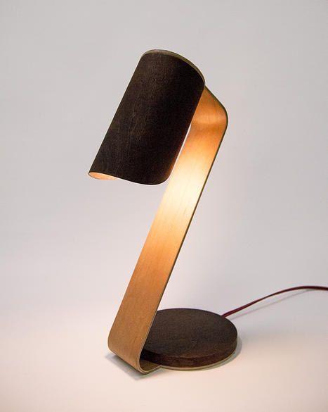 Designer Wood Desk Lamp - Handcrafted Night Light - Bent Plywood Cherry Wood Veneer Lamp - Scandinavian Design