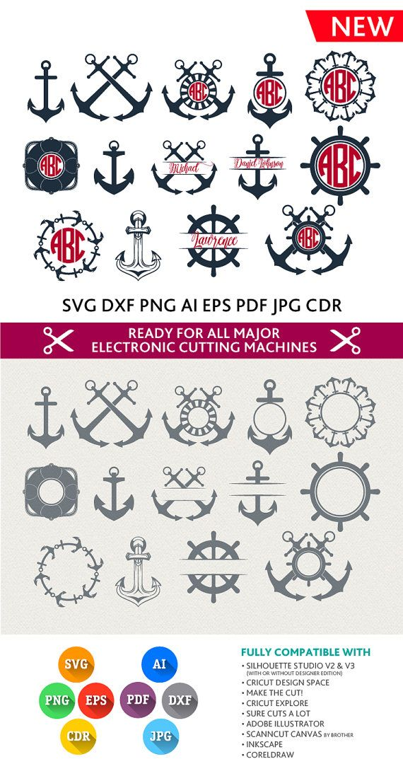 Anchor Svg Monogram Frame Cut Files - SVG DXF Silhouette Studio Png Eps Pdf Jpg Ai Cdr files for Silhouette Studio, Cricut, Cameo
