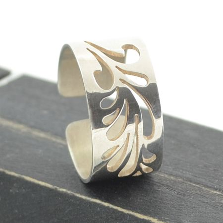 Wide droplet sterling silver ring. $139