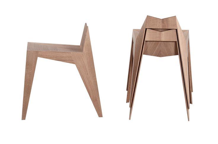 Stocker è una combinazione tra una sedia e uno sgabello. È una sedia leggera di legno di quercia che coniuga modernità e tradizione. La sua linea essenziale riflette la naturale bellezza del materiale. Nonostante lo spessore di soli 8 mm, la complessità della sua forma assicura una stabilità eccellente; inoltre il suo peso ha dell'incredibile: solo 2300 grammi. Stocker presenta le caratteristiche del nostro tempo: flessibilità e movimento.