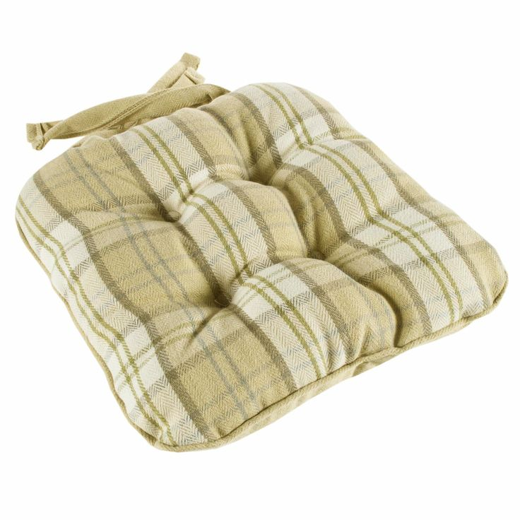 Lewis Check Piped Chunky Set of 4 Seat Pads - Mustard / Green Tartan Checked Seat Cushions Wool Style