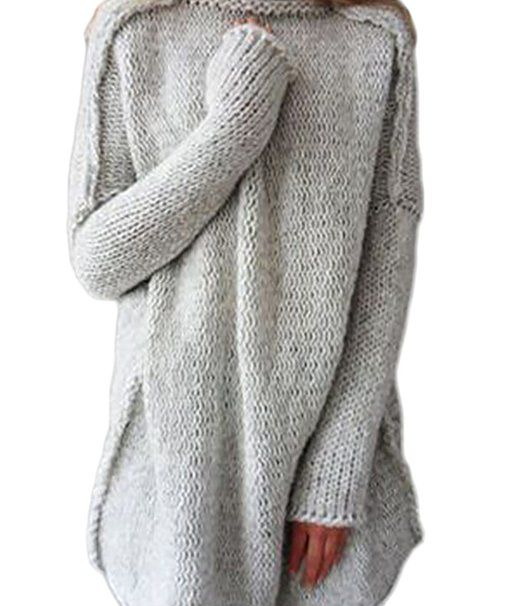 Oyanus Women's Autumn Loose High Cowl Neck Slouchy Long Sleeve Pullover Sweater Hoary