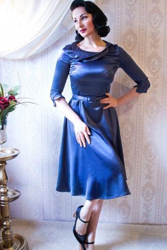 Wow To Go! - 50s Lara dress Royal blue satin- Bridesmaid/family?