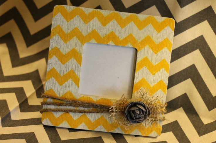 Distressed Chevron Picture Frame - Chevron Wedding - Chevron Home Decor - Weathered Crackle - Embellished Frame - CHOOSE YOUR COLOR. $15.00, via Etsy.