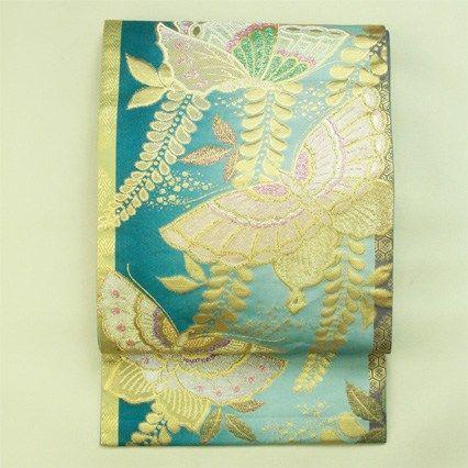 Blue and batterfly pattern, fukuro obi / 千種のブルー地 藤文蝶柄 六通袋帯 #Kimono #Japan http://www.rakuten.co.jp/aiyama/