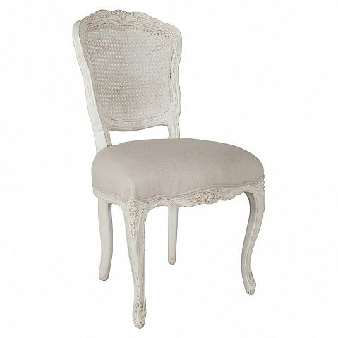 French style painted dining chair with rattan back - Trade Secret