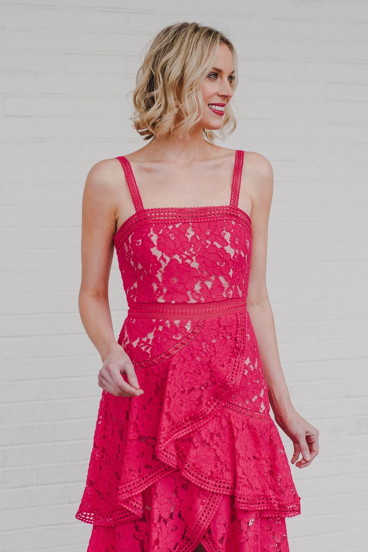 Alice + Olivia coral lace dress