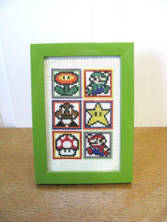 Nintendo Cross Stitch; Completed; Super Nintendo; Mario, Luigi, Star, Mushroom, Goomba, Flower