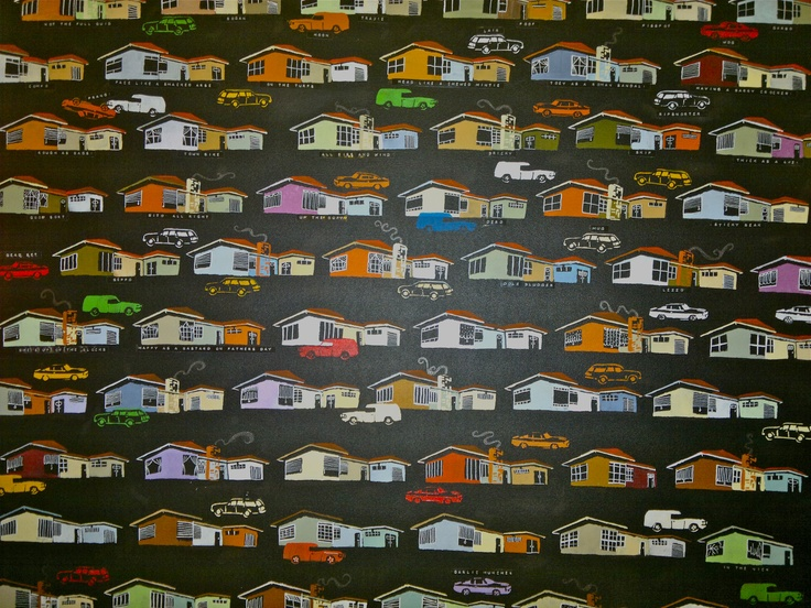 300 hand stenciled cars and houses on canvas 1.2 x 1.2 m