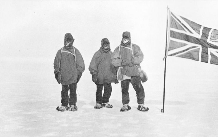 Eric Marshall, Frank Wild and Ernest Shackleton bundled up at a new Farthest South latitude in January 1909.