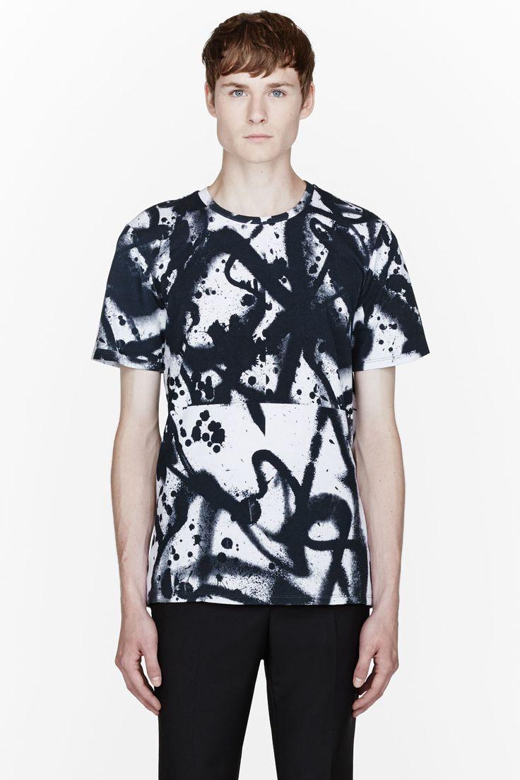 Black t shirt for mens - Tim Coppens Black Spray Splatter Print T Shirt For Men Ssense