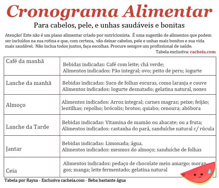 cronograma alimentar para nutrir o cabelo  http://cacheia.com/2014/05/cronograma-capilar-aprenda-a-nutrir-os-seus-cabelos-de-dentro-para-fora/