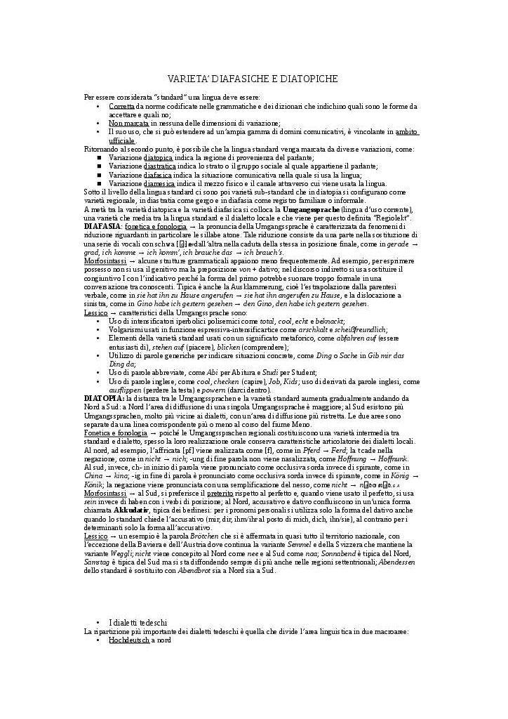 Varietà diafasiche e diatopiche - Documenti per Professionisti