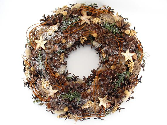 Holiday Wreath Christmas Wreath Pinecone Wreath Natural