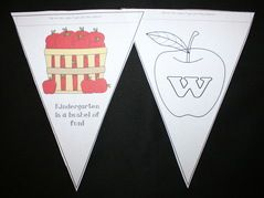 FREE welcome to school apple-themed banner.  Have each student color a pennant and suspend back-to-back from the ceiling.  Great for a 1st day or open house (meet the teacher) activity.  Templates for preschool, kindergarten & 1st grade.
