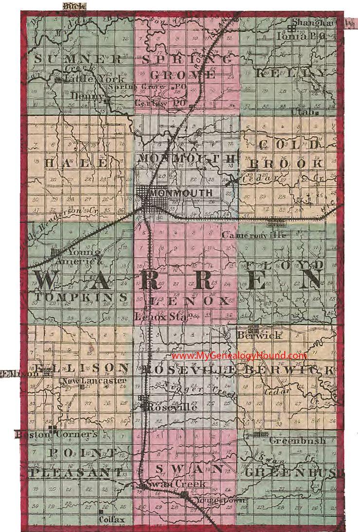 Illinois hancock county elvaston - Warren County Illinois 1870 Map Monmouth Cameronville Berwick Roseville Young America