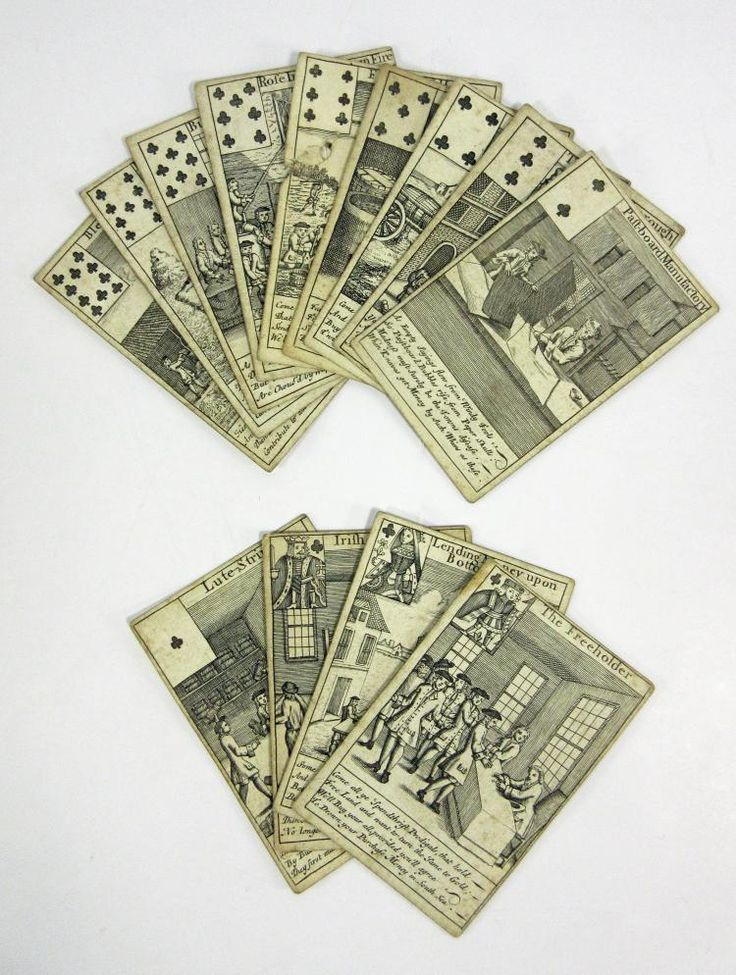 A stupendous rarity considered among the most valuable decks of cards in the world. The South Sea Bubble playing cards were first published in London by Thomas Bowles in 1720. The cards were printed from copper plates, with the red suit symbols being applied later by stencil.