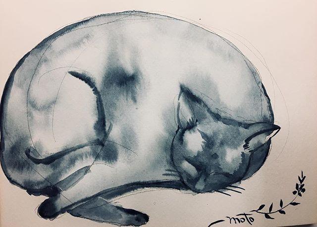 お世話になっている方へ、メッセージカードをと思って描こうとしたらメッセージ入れるスペース忘れてた(><)端っこに鉛筆でちっちゃく書くかなぁ(^◇^;) #イラスト #illustration #art #cat #くろねこ #黒猫 #もとp #イラストレーション #水彩画 #watercolor #水彩 #painting #メッセージカードfukudamotoko2017/09/30 01:58:58