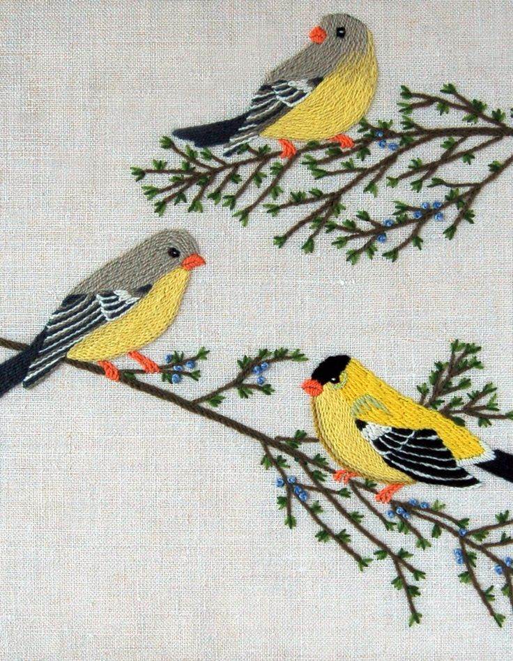 """GOLD FINCHES CREWEL FR:""""purl soho'"""