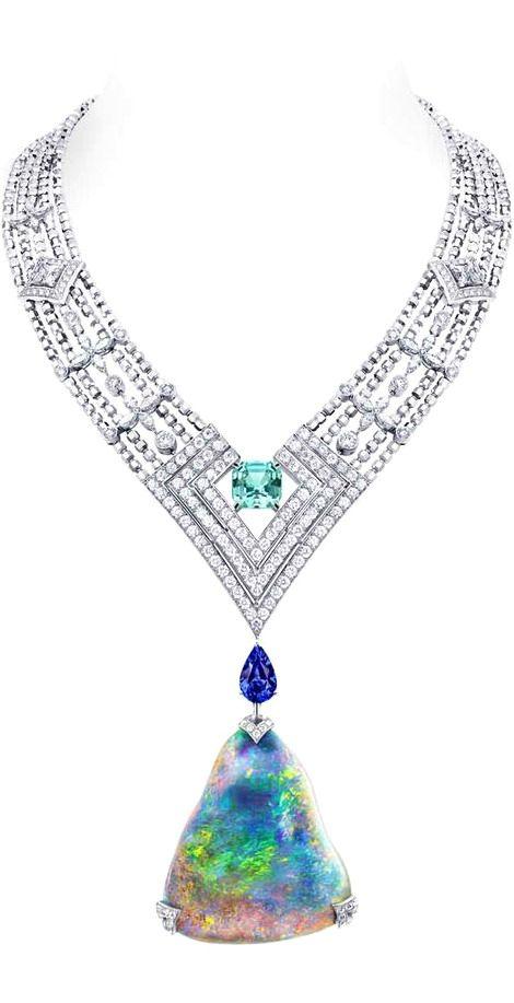 Louis Vuitton Acte V Genesis necklace featuring a 87.92ct Australian black opal and Vuitton's signature star-cut diamonds. Louis Vuitton Acte V Genesis necklace featuring a 87.92ct Australian black opal and Vuitton's signature star-cut diamonds.