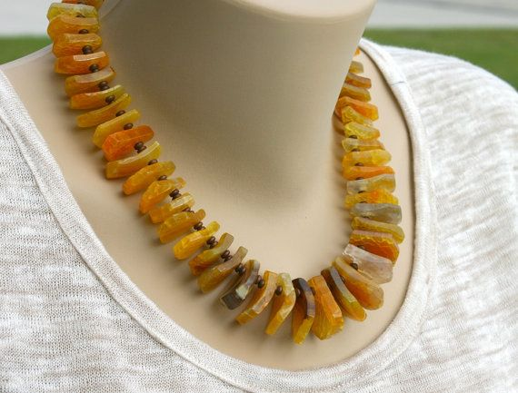 Slices necklace big chunky necklace orange necklace