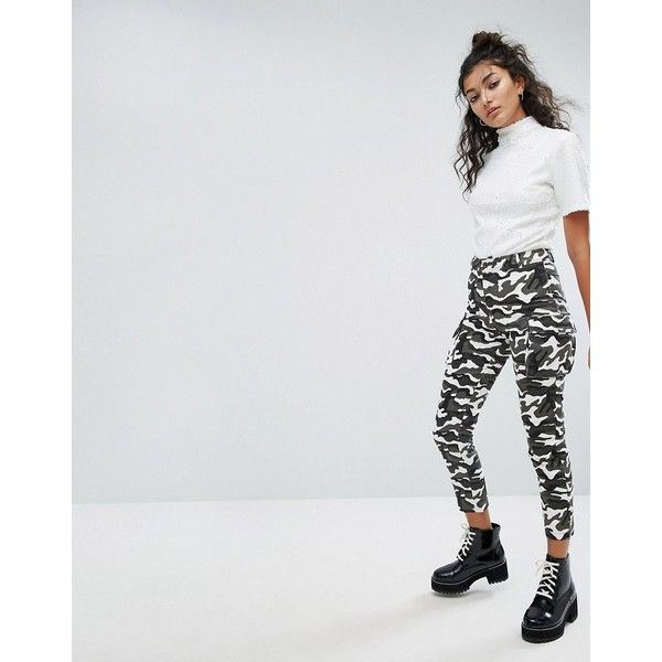 One Above Another Camo Trousers (£32) ❤ liked on Polyvore featuring pants, black, camo jerseys, high-waisted pants, high waisted skinny trousers, high-waist trousers and high waisted camo pants