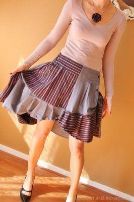 mens shirts refashioned into a skirt