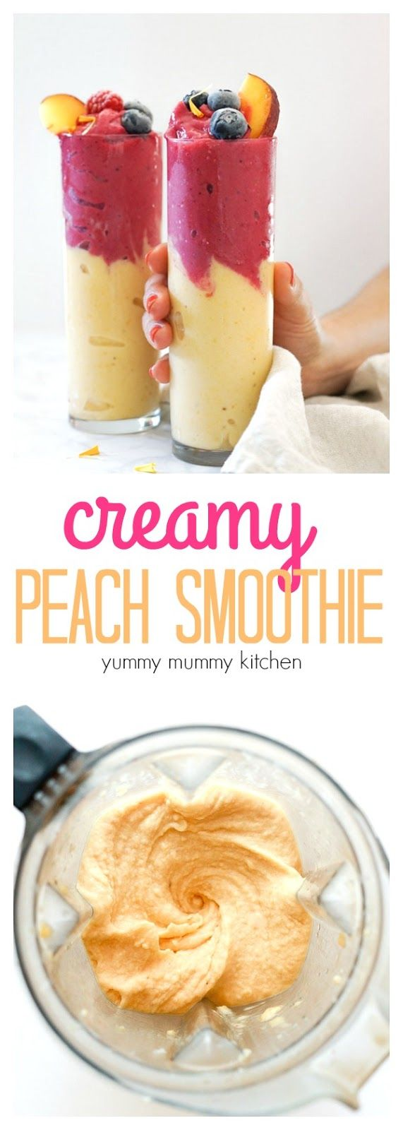 This is the best peach smoothie recipe! Made with frozen peaches, banana, and almondmilk yogurt, this vegan peach smoothie is ultra thick and creamy. Add a handful of strawberries for a pretty pink layer with an extra dose of antioxidants.