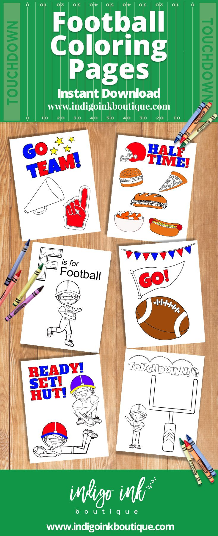 Gear up for game day with these football coloring pages from Indigo Ink Boutique. This football printable is an INSTANT DOWNLOAD so kids can enjoy lots of coloring fun instantly! Great for Superbowl, half time or tailgating with the kids! You will receive one PDF with 6 coloring sheets. Purchase these football coloring sheets for kids today!